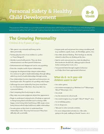 Child Development Safety Sheet (8-9 Years)