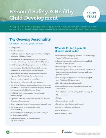 Child Development Safety Sheet (11-12 years)