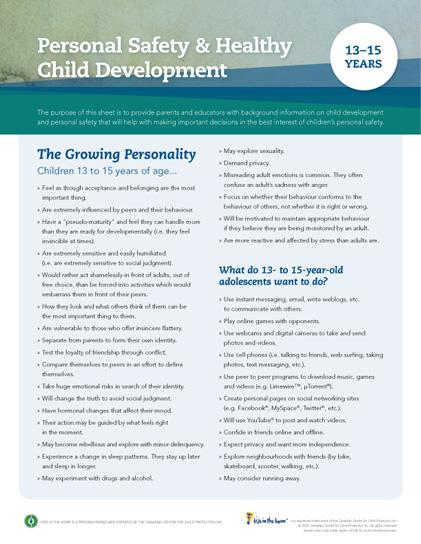 Child Development Safety Sheet (13-15 years)