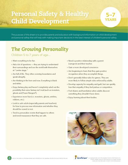 Child Development Safety Sheet (5-7 years)